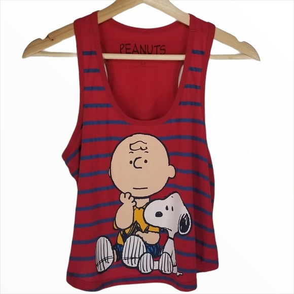 3/$25 Forever 21 Peanuts Charlie Brown Red Tank Top
